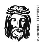 vector face of jesus on white