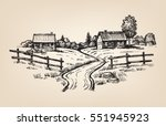 vector hand drawn village... | Shutterstock .eps vector #551945923
