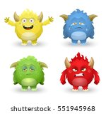 cute monsters in different... | Shutterstock .eps vector #551945968
