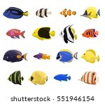 coral reef fish set with 16... | Shutterstock .eps vector #551946154