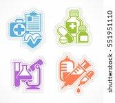 set of color medical symbols on ... | Shutterstock .eps vector #551951110