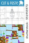 puzzle game  cut and paste. a... | Shutterstock . vector #551955973