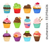 delicious cupcakes and vector... | Shutterstock .eps vector #551956636