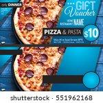 restaurant gift voucher flyer...   Shutterstock . vector #551962168