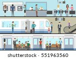 subway interior set with train  ... | Shutterstock .eps vector #551963560