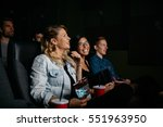 group of friends sitting in... | Shutterstock . vector #551963950