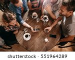 group of friends at the cafe... | Shutterstock . vector #551964289