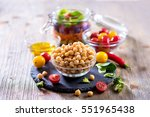 chickpea and ingredients for... | Shutterstock . vector #551965438