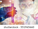 double exposure of scientist... | Shutterstock . vector #551965660