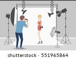 female model in photo studio.... | Shutterstock .eps vector #551965864