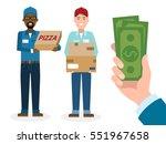 money for delivery. handsome... | Shutterstock .eps vector #551967658