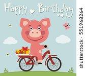 happy birthday  funny pig on... | Shutterstock .eps vector #551968264