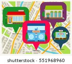 navigation map with shops pins... | Shutterstock .eps vector #551968960
