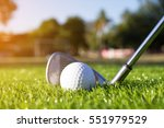 golf club and ball hit swing... | Shutterstock . vector #551979529