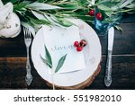 wedding decoration in the... | Shutterstock . vector #551982010