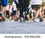marathon runners group people... | Shutterstock . vector #551982280