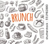brunch card with elements of... | Shutterstock .eps vector #551982880