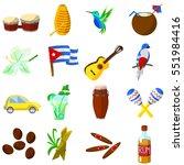 set of color cuba icon. cuban... | Shutterstock .eps vector #551984416