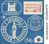 travel stamps or symbols set ... | Shutterstock .eps vector #551984479
