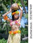 hawaii hula dancer carries... | Shutterstock . vector #551987449