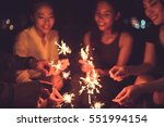 people in asian fireworks... | Shutterstock . vector #551994154