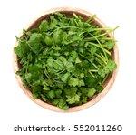op view of fresh coriander... | Shutterstock . vector #552011260