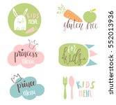 set of kids menu logos for cafe ... | Shutterstock .eps vector #552013936