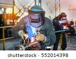 tig welding steel pipe at... | Shutterstock . vector #552014398