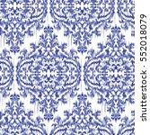 blue ikat ogee and damascus... | Shutterstock .eps vector #552018079