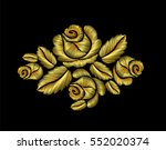 golden crewel roses embroidery...