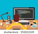 person working on computer.... | Shutterstock .eps vector #552022249
