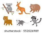 zoo wild animals colorful set.... | Shutterstock .eps vector #552026989