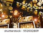 Golden Vegas Casino Concept. Casino Games 3D Rendered Illustration. Slot Machines, Roulette Game, Poker and Casino Chips. - stock photo