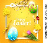 cute easter greeting card with... | Shutterstock .eps vector #552043480