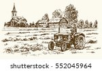 Tractor Collecting Haystack In...
