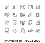 Stock vector simple set of scrolls and papers related vector line icons contains such icons as education 552051808
