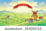 rural landscape with a mill and ... | Shutterstock .eps vector #552055723