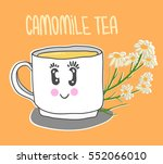 cute cup with camomile tea.... | Shutterstock .eps vector #552066010