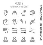 set of route in modern thin... | Shutterstock .eps vector #552069028