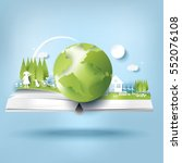 eco paper art design style ... | Shutterstock .eps vector #552076108