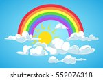 vector sun  rainbow and clouds... | Shutterstock .eps vector #552076318