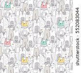 seamless pattern with funny... | Shutterstock .eps vector #552083044