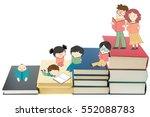 boys and girls reading books... | Shutterstock . vector #552088783