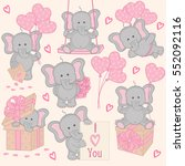 set of cute valentine elephant... | Shutterstock .eps vector #552092116