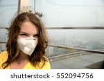 woman in medical mask against... | Shutterstock . vector #552094756