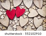 Wooden Hearts  One Red Heart O...