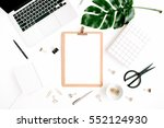 home office workspace mockup... | Shutterstock . vector #552124930