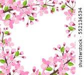 cherry blossom background. pink ... | Shutterstock .eps vector #552136534