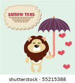 cute lion with umbrella 9 | Shutterstock .eps vector #55215388