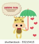 cute cow with umbrella 1 | Shutterstock .eps vector #55215415